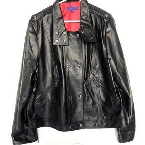 Twiggy London Leather Jacket Union Jack Lining 2X